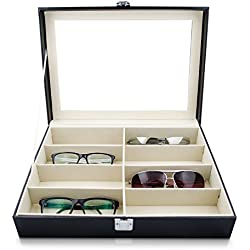 VENKON - 8 Glasses Display Case with Glass Lid Sorting Box for Storage & Presentation of Eyeglasses - Faux Leather