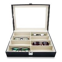Brillenbox zur Aufbewahrung von 8 Brillen - Weiß 34 x 25 x 9 cm - Sonnenbrillen Präsentation Brillendisplay - Grinscard