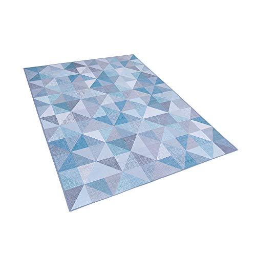 Beliani Teppich blau-grau rechteckig Kurzflor geometrisches Muster 140 x 200 cm Kartepe -