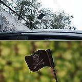 SLB Works Brand New Black Jolly Roger Pirate Flag Car Antenna Pen Topper