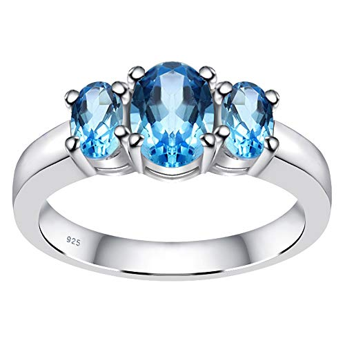 Anillo De Topacio Azul Para Las Mujeres Joyería Orquídea