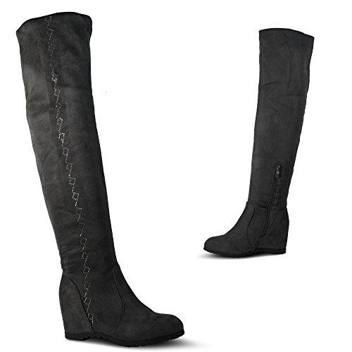 Damen Stiefel Keilabsatz Leicht Gefüttert High Heels Boots Wedge Stiefeletten JA72 (39, Rot Uni)