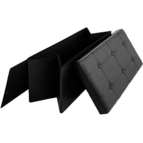 Sitzbank 3-Sitzer Kunstleder schwarz 80x40x38cm - 6