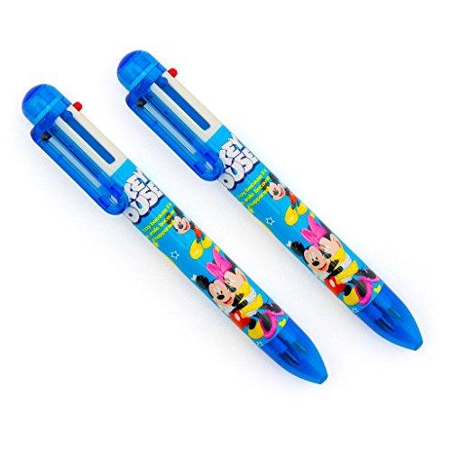 en Kinder Mickey und Minnie Mouse Retractable Kugelschreiber 6 Farben Pen - 2er Pack (Mickey-händen)