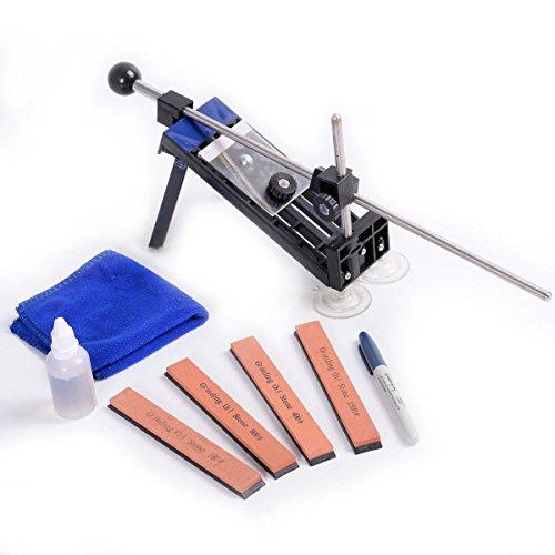 COSTWAY Profi Küche Messerschleifer Messerschärfer Messerschleifmaschine Knife Schärfwerkzeug Sharpener System Fixed-Winkel mit 4 Schleifsteinen inkl. Tragtasche