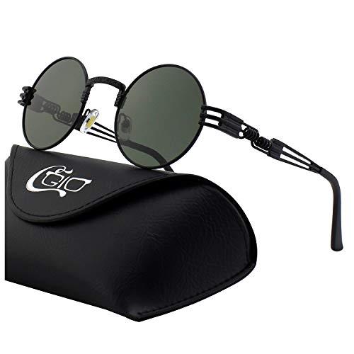 CGID Retro Sonnenbrille im Steampunk Stil, runder Metallrahmen, polarisiert, für Frauen und Männer, E72, B9 Schwarz Grün, Einheitsgröße