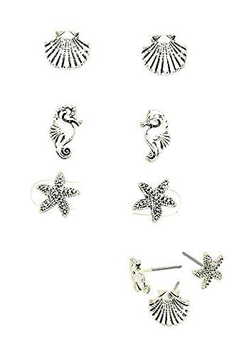 Rosemarie Collections Femme Coastal Boucles d'oreille à tige Lot de 7,6cm Coquille étoile de mer Sea Horse