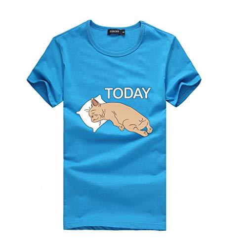 Zegeey Damen T-Shirt MäDchen Oberteil Kurzarm Rundhals Print Sommer Tees Shirt Bluse Tops LäSsige Lose GroßE GrößEn (Himmelblau,EU-48/CN-3XL)