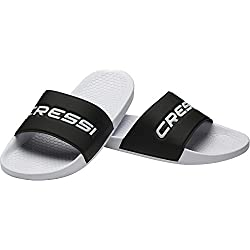 Cressi Swimming Pool Deluxe Chanclas, Unisex Adulto, Blanco/Negro, 43