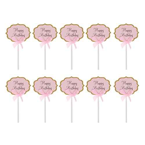 Blesiya Cupcake Deko Kit mit Cake Picks Picker Set - Rosa Happy Birthday -