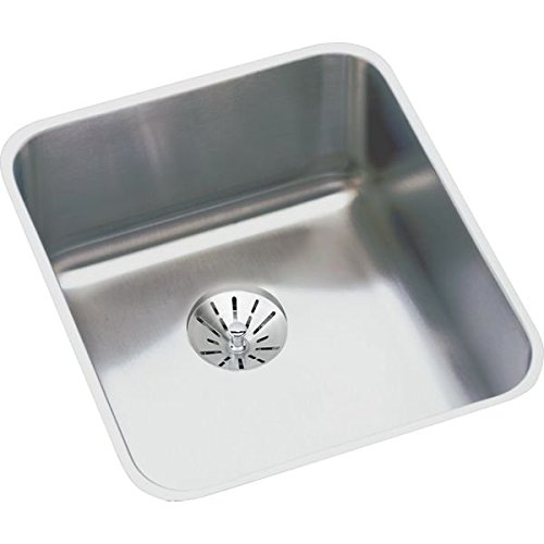 Elkay ELUHAD131645PD 18 Gauge Stainless Steel 16 x 18.5 x 4.375 Single Bowl Undermount Kitchen Sink Kit by Elkay (Elkay 16)