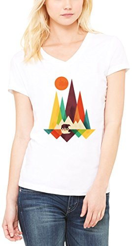 Mountains Minimalistic Bear Women's V-Neck T-shirt Blanc