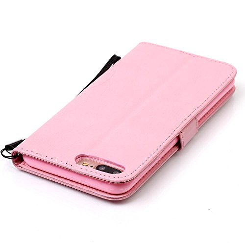 KATUMO® Grau Apple iPhone 7 Plus, iphone 8 plus Hülle, iphone 8 plus Cover Case, PU Leder Handy Tasche Schutzhülle mit HandyHülle für Apple iPhone 7/8 Plus ( 5.5 Zoll) Etui Schale Cover Pink