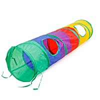 4h6yerf ample 1pc Pet Cat Dogs Foldable Rainbow Colored Tunnel Dangling Bell Activity Toy Available(None colour)