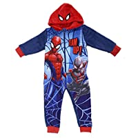 Marvel Spiderman Childs All in One Hooded Sleepwear Suit Soft Blue Red Fleece Spidey Character Print Kids Long Sleeve Pyjamas PJs