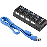 CHIBI USB 3.0 Hub 4 Port USB 3.0 Ultra-mini Hub 4-port Date Hub Splitter With Power Switch For Pc Laptop Computer Black