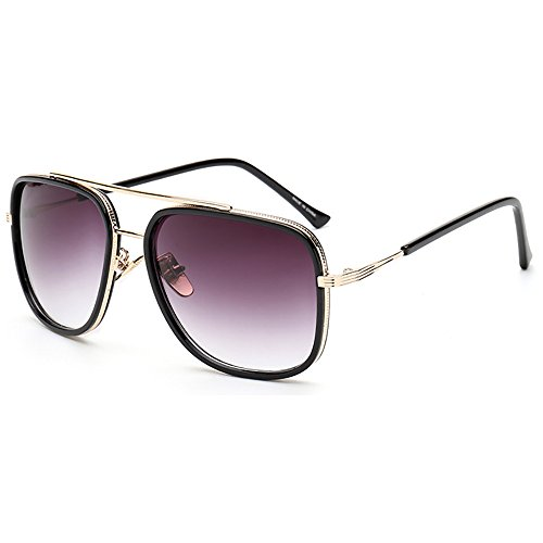 SHEEN KELLY Pilot Sonnenbrille Platz Retro Sonnenbrille mit Metallrahmen Brillen Gold UV400