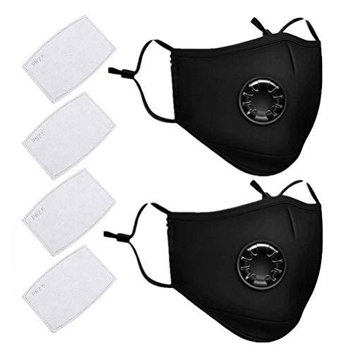 Cavestoff N95 Anti-Staub-Maske, 2 Stück, wiederverwendbar, PM 2,5 Anti-Staub-Masken, waschbar, Anti-Haze Gesichtsmaske Schutzmaske Atemschutzmaske mit 4 Filter-Baumwoll-Blatt, schwarz