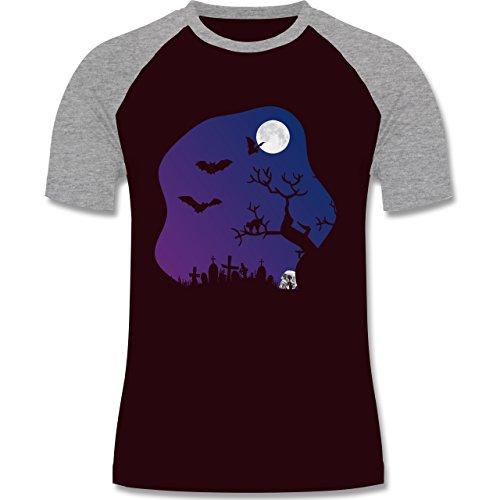Halloween - Friedhof gruselig Totenkopf Mond - zweifarbiges Baseballshirt für Männer Burgundrot/Grau meliert