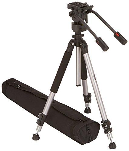 AmazonBasics - Dreibeinstativ für Videokamera, Höhe: 170 cm, inkl. Transporttasche - Video-stativ Fluidkopf