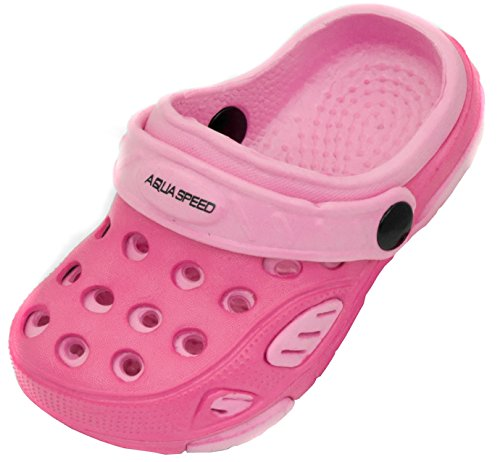Aqua Speed Clogs Für Kinder und Babys - Badeschuhe - Ideal Für Strand, Pool und Schwimmbad - #As Lido, 03 Pink/Hellpink, 21