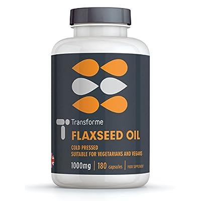Vegetarian Flaxseed Oil 1000mg | Cold Pressed | Omega 369 | Organic | Vegan | Transforme