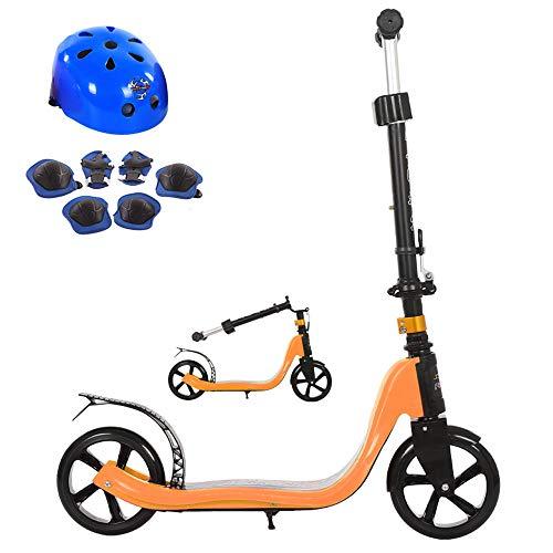 FAFEGVCFDS Faltbares Design 4-Fach höhenverstellbar für Kinder über 5 Jahre 2-Rad Tretroller (orange) - Trittbrett Lager