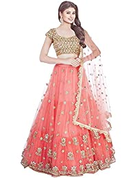 344517c63e9a1 Bhurakhiya Women s Embroidery Colour Orange Semi Stitched Lehenga Choli  (Semi Stitched Free Size)