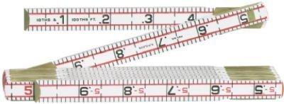 Luf 1066DN 6 ft. Red End Engineers Ruler Folding, Wood by Luf