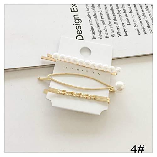 Tick Tocking Perlen Haarspangen 4 Stück Haarspangen Gold Haarnadeln Mode dekorative Accessoires für Hochzeit Braut für Frauen Mädchen -