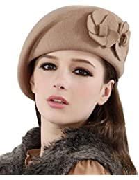Eastery Beanie Beret Flores De En Elegante Otoño Mujer E Invierno Estilo  Simple Sombrero De Fieltro c31584c48bf