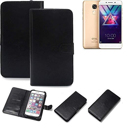 K-S-Trade Wallet Case Handyhülle für Coolpad Cool S1 Schutz Hülle Smartphone Flip Cover Flipstyle Tasche Schutzhülle Flipcover Slim Bumper schwarz, 1x