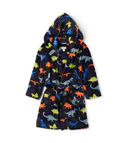 Hatley Jungen Fuzzy Fleece Robe Dressing Gown Bademantel, Blau (Dino Herd 400), Medium