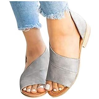 Übergroßer Sandalen für Damen/Dorical Frauen Sommer Retro-Peep-Toe-Sandalen mit seitlicher Abdeckung Damenschuhe Mode einfache PU-Leder Schuhe rutschfest 35-43 EU Ausverkauf(Grau,36 EU)