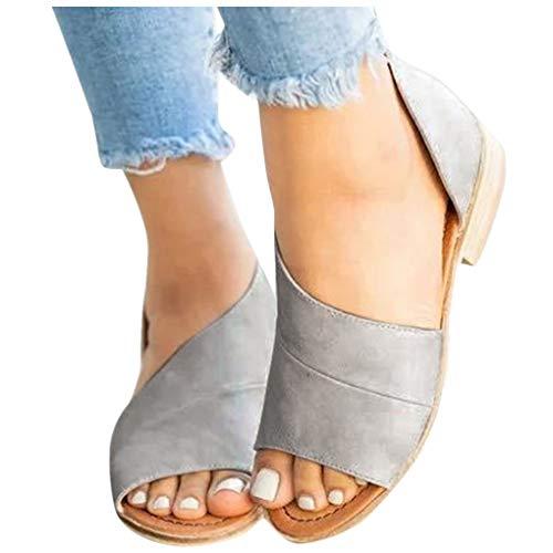 Übergroßer Sandalen für Damen/Dorical Frauen Sommer Retro-Peep-Toe-Sandalen mit seitlicher Abdeckung Damenschuhe Mode einfache PU-Leder Schuhe rutschfest 35-43 EU Ausverkauf(Grau,42 EU)