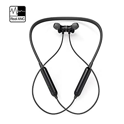 Active Noise Cancelling Headphones, AKAMATE Wireless Neckband Headset Bluetooth V4.2 In-Ear Waterproof Earbuds Magnetic Hi-Fi Stereo Sports Earphones with Mic, Carrying Bag