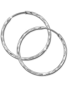 SilberDream Damen Creole glänzend 35mm Damen Ohrring 925 Sterling Silber SDO0083J