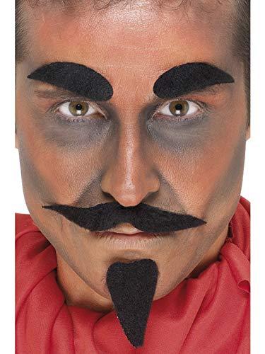 Schnurrbart Teufel Kostüm - Halloweenia - Herren Teufel Devil Dämon Kit Set mit Brauen Schnurrbart und Bart, Kostüm Accessoires Zubehör, perfekt für Halloween Karneval und Fasching, Schwarz