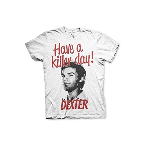Officially licensed merchandise dexter - have a killer day! t-shirt (white), medium