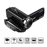FLOUREON Videocamera 4K WIFI Ultra HD, Zoom Digitale 16x, Modalità AP, Visione...