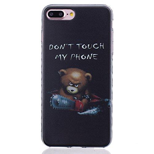 Etui iphone 7 Plus, Coque iphone 7 Plus, Cozy Hut® Oiseaux de plumes noires Pattern Etui Housse Téléphone Couverture de doux Plastique Coque pour iphone 7 Plus - plumes d'oiseaux ours