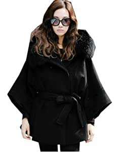 Women's Fur Collar Hooded Double Breasted Batwing Cape Coat