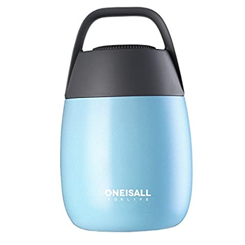 ONEISALL GYBL116 450ML Cute Student Stainless Steel Food Flask with Foldable spoon and Sturdy handle and carry bag ,Insulated Mini Food & Soup Thermal Flask for kids , 384G