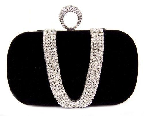 FreshGadgetz 1 Set di Pochette nera tempestata di diamanticon doppia chiusura