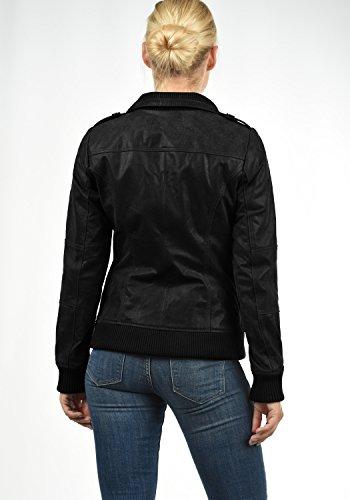 DESIRES Fame Damen Lederjacke Bikerjacke Echtleder Mit Stehkragen, Größe:XS, Farbe:Black (9000) - 4