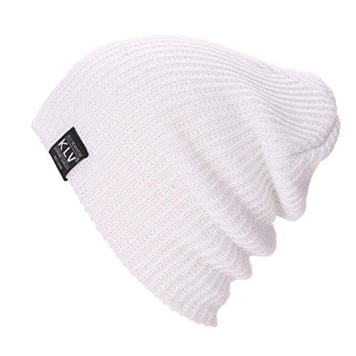 Muster Stricken-wolle-skull-cap (stricken Hut , Kobay Männer Frauen Baggy Warm Crochet Winter Wolle stricken Ski Beanie Skull Slouchy Caps Hut (ungefähr 46cm ~ 66cm, Weiß))