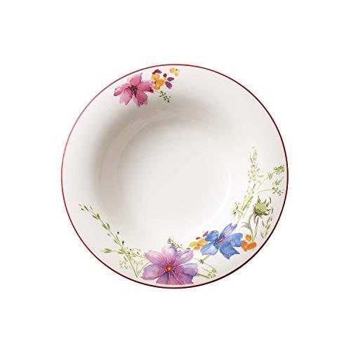 Villeroy & Boch Mariefleur Basic Suppenteller, 23 cm, Premium Porzellan, weiß/bunt