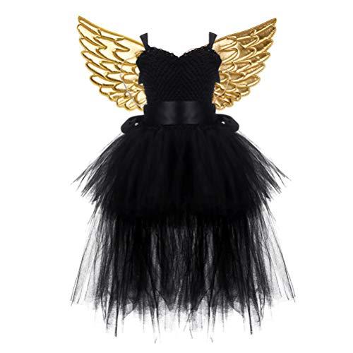 Amosfun Kinder Halloween Kostüm Tutu Schwarz Kleid mit Golden Engelsflügel Party Kostüm (Kleinkind Bat Girl Kostüm)