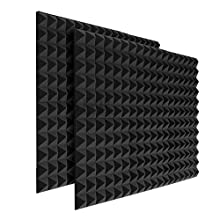 24pcs Soundproofing Acoustic Foam Fireproof Studio Sound Absorption Pyramid Treatment High Density Wall Padding Foam Sound Absorbing Noise Dampening Foam 25 X 25 X 5 cm