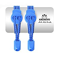 Amznevo Fashion Elastic No Tie Shoelaces for Kids and Adults with Multicolor (Royal Blue)